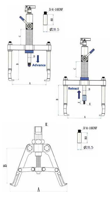 Bearing Puller Assembly Drawing : Hydraulic pullers arm push puller