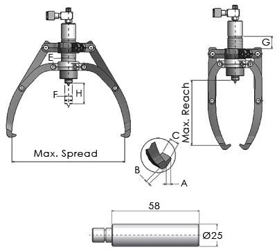 Self-Centering Hydraulic Pullers Drawing